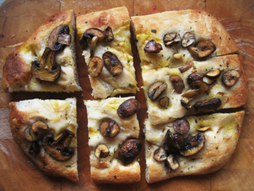 Picture of an oven bread with chestnuts and mushrooms