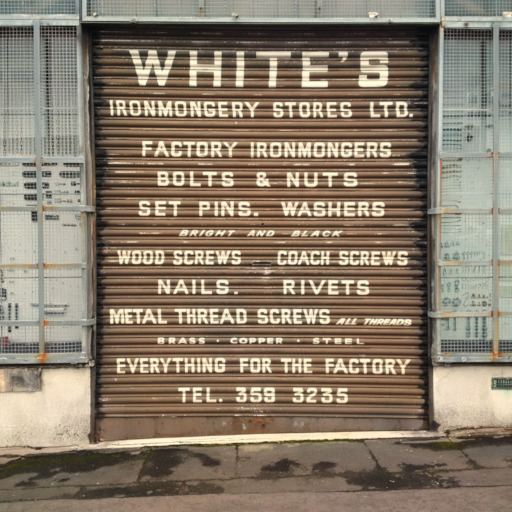 Whites Ironmongery shop door shutter